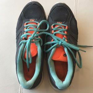 Orange, gray and teal Fila sneakers